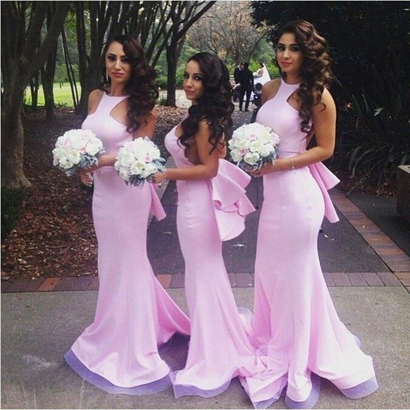 Hot Sale Pink Mermaid   Bridesmaid     Dresses   2019 Scoop Neck Backless Tank Satin Cheap Vestido Madrinha