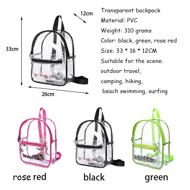 outdoor travel pocket Transparent PVC shoulder bag field camping cosmetic wash bag men and women waterproof bag swimming bag B24