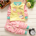 2PCS Cute Baby Sets Long Sleeve Clothes Rabbit Dot Top Pants Set Autumn Winter Boys Outfit Cotton Girls Tracksuit Baby Clothing