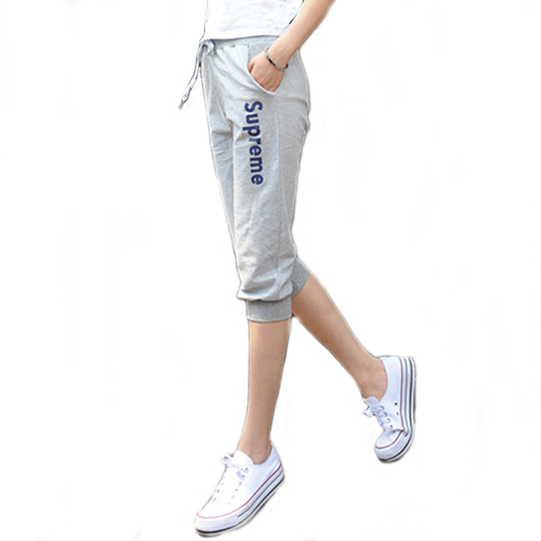 Summer sports pants female active wear women pantalon deporte mujer gray  black capris culottes womens joggers sweatpants WJ033 4623e56686bd