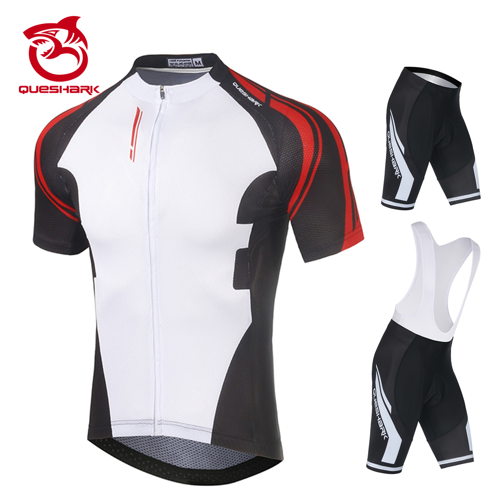 Queshark Summer Cycling Jersey Breathale Mountain Bike Clothing Quick-Dry Racing MTB Bicycle Clothes Uniform Cycling Suit Set 1