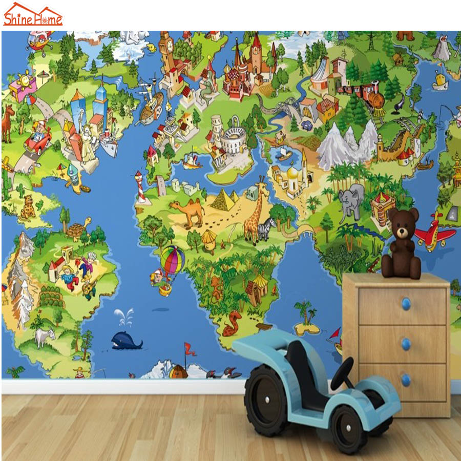 ShineHome-DIY Cartoon Art Animal Map Country 3d Wallpaper Mural Rolls for Kids Livingroom Wall Paper Kindergarten Background shinehome nature banana leaf wallpaper 3d photo wallpaper rolls for walls 3 d livingroom wallpapers mural roll paper background
