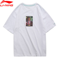 Li Ning PFW Men Li's Photo Tee Printing T Shirt 100% Cotton Loose Fit Breathable LiNing Sports Tee Tops AHSN857 MTS2879