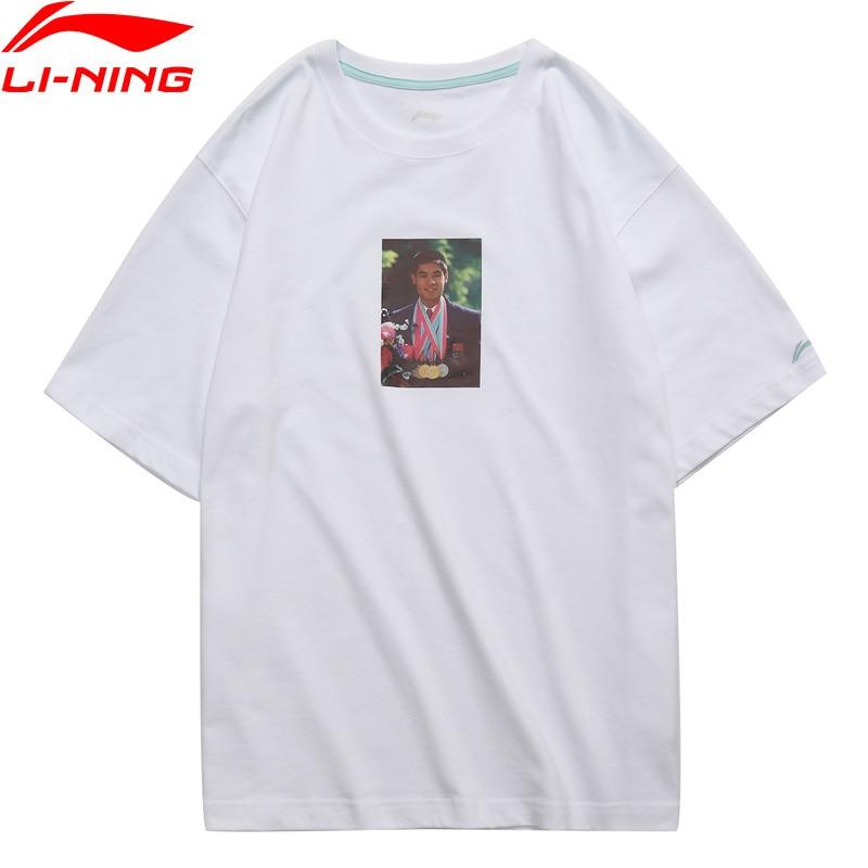 Li-ning PFW hommes T-Shirt Photo impression T-Shirt 100% coton lâche doublure respirante sport Tee hauts AHSN857 MTS2879