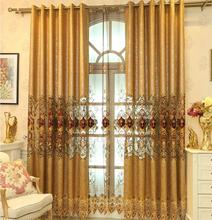 FYFUYOUFY Upmarket European embroidery curtain bedroom living room Shading cloth curtain Hollow out embroidery tulle Luxurious