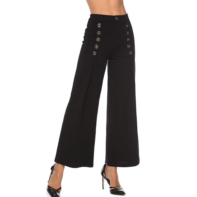 High Waist   Wide     Leg     Pants   Elegant Office Lady Buttons Long Trousers 2019 Women Plain Workwear   Pants