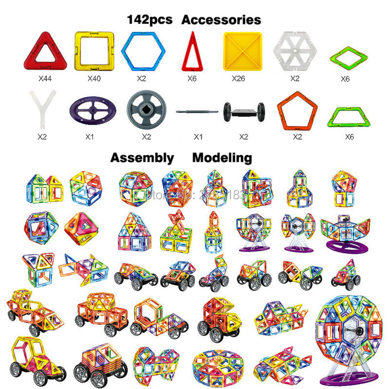 142PCS Magnetic Blocks Enlighten Construction Ferris wheel Designer 3D DIY Magnetic Building Blocks Educational Toy For Children