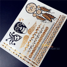 Flash Metallic Waterproof Temporary Tattoo HJ-40 gold silver black henna Wing Dreamcatcher Chain Design holloween tattoo sticker