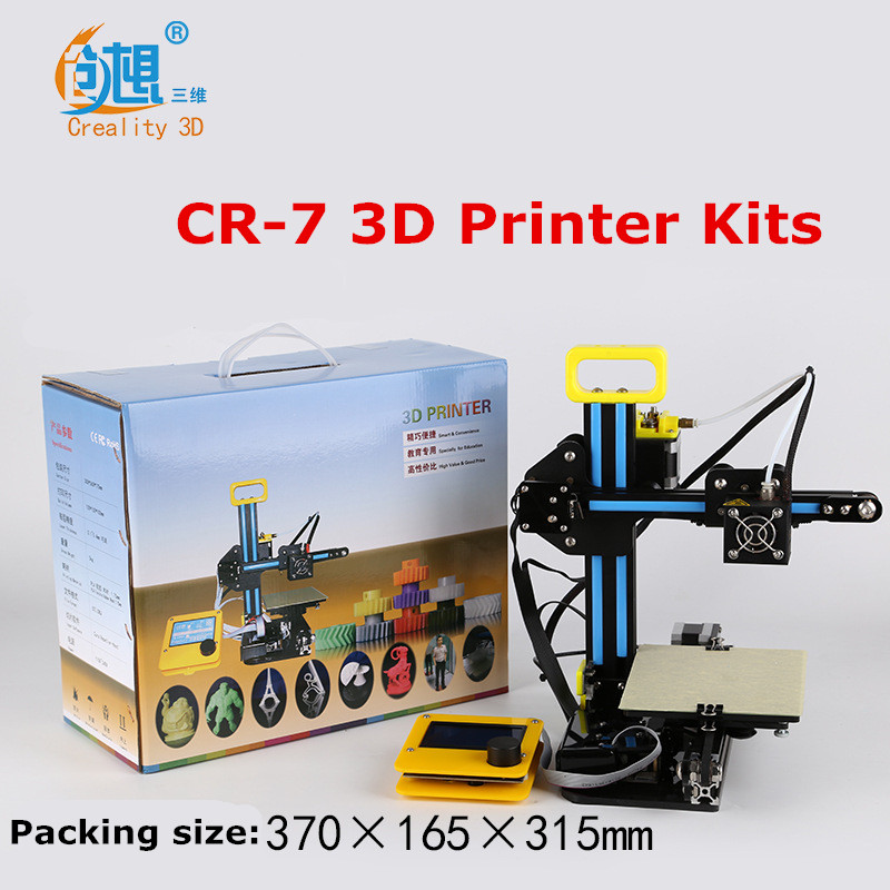 Newest Mini CREALITY 3D Full Aluminium Structure Cheap Mini CR-7 3 D Printer DIY Kit Easy Assemble  3D Printer Filament SD Card 2017 popular ender 2 3d printer diy kit easy assemble cheap reprap prusa i3 3d printer with filament 8g sd card tools