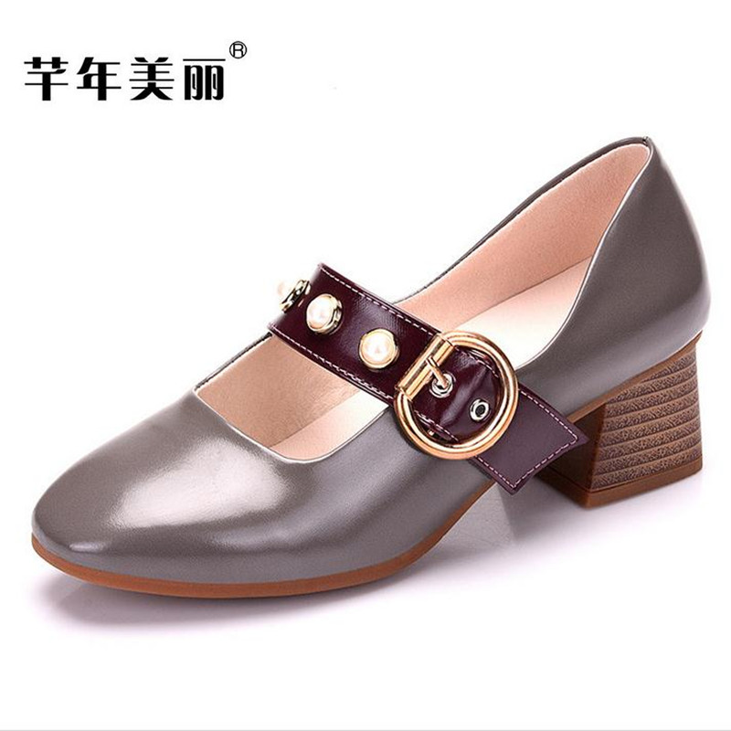 2018 Spring high heels Plus size Women's shoes crude heels black Mary Jane shoes pumpTacones Mujer obuv chaussure Heels все цены