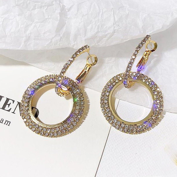 New design Round Shiny Rhinestone Gold Drop Earrings for Women Girl Geometric Crystal Big Wedding party.jpg 640x640 - New design Round Shiny Rhinestone Gold Drop Earrings for Women Girl Geometric Crystal Big Wedding party Earring cc Jewelry