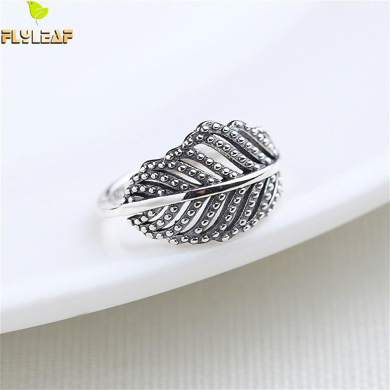 Flyleaf Hollow Leaves Polka Dot Real 925 Sterling Silver Rings For Women High Quality Simple Fine Jewelry Open Ring Vintage