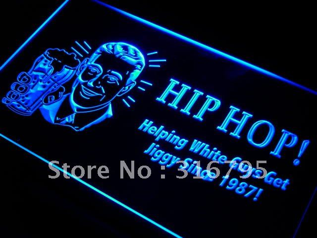 i171 Hip Hop help white guy jiggy Bar LED Neon Light Sign On/Off Switch 20+ Colors 5 Sizes