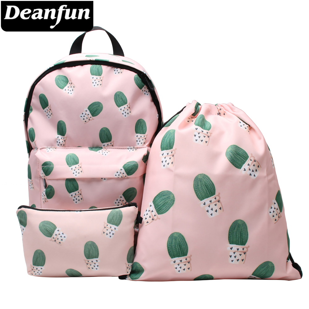 Deanfun 3PCS /set Cactus Pink Backpack Cute 3D Printed Girls Shoulder Schoolbags cactus cute cactus brooch