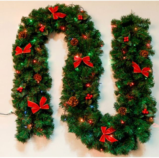 27m christmas garland green christmas rattan lights christmas decoration supplies christmas decorations for home free - Garland Christmas Decor