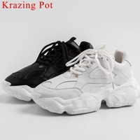 Krazing Pot classic white black sneakers lace up natural leather thick bottom platform ventilated big size vulcanized shoes L30