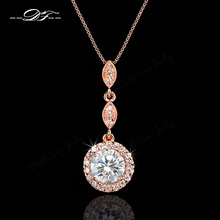 Vintage Cubic Zirconia Micro Pave Rose Gold/White Gold Plated Necklace & pendants Crystal Wedding Jewelry For Women DFN428