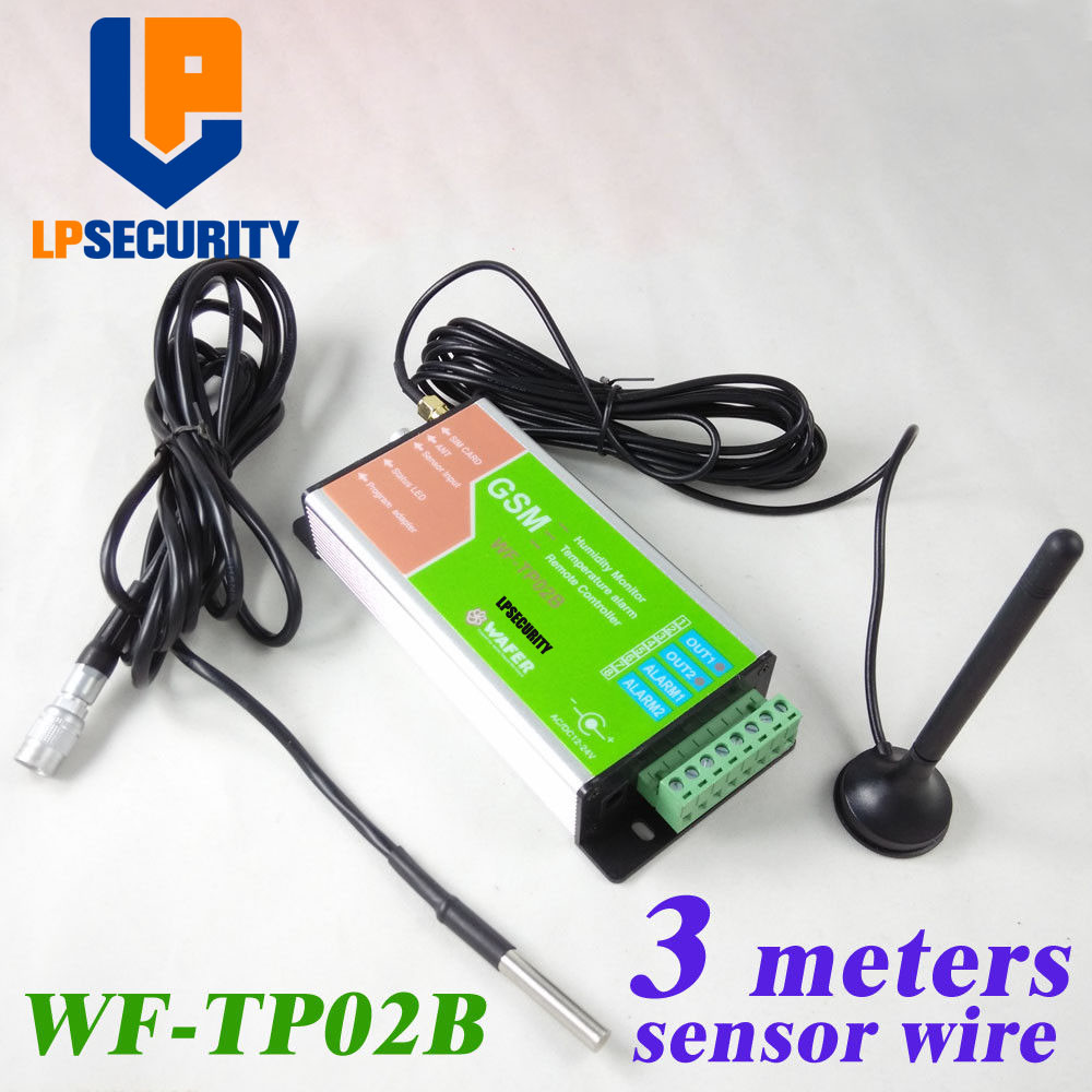 LPSECURITY GSM SMS GSM Temperature Alarm Monitoring Remote Controller WF-TP02B With 3 Meter