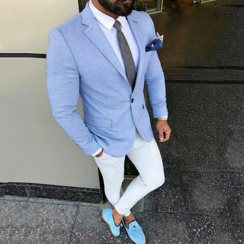 Custom Made Light Blue Men Suits for Wedding with White Pants 2Piece Slim Fit Terno Masculino Trajes Costume Homme