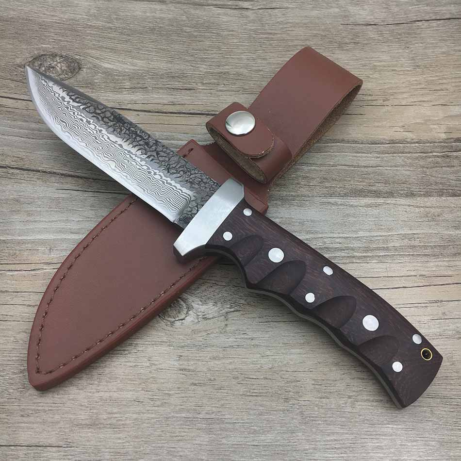 Swayboo manual Damascus steel  forged straight knife hunting 62HRC hardness outdoor self-defense  actical fixed blade knife