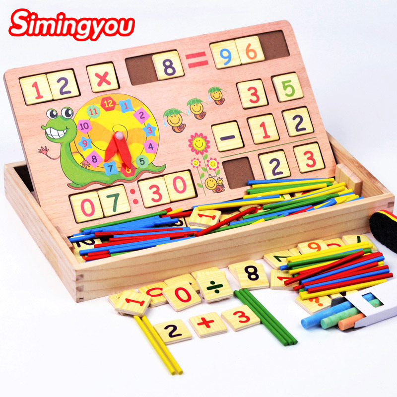 Simingyou montessori math toys Wooden Multifunctional font b Digital b font BoxKids Toys Learning Mathematics For