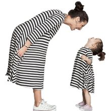 CALOFE/модные Семейные комплекты в полоску для мамы и детей; Одежда для маленьких девочек; платье для мамы и дочки; одежда