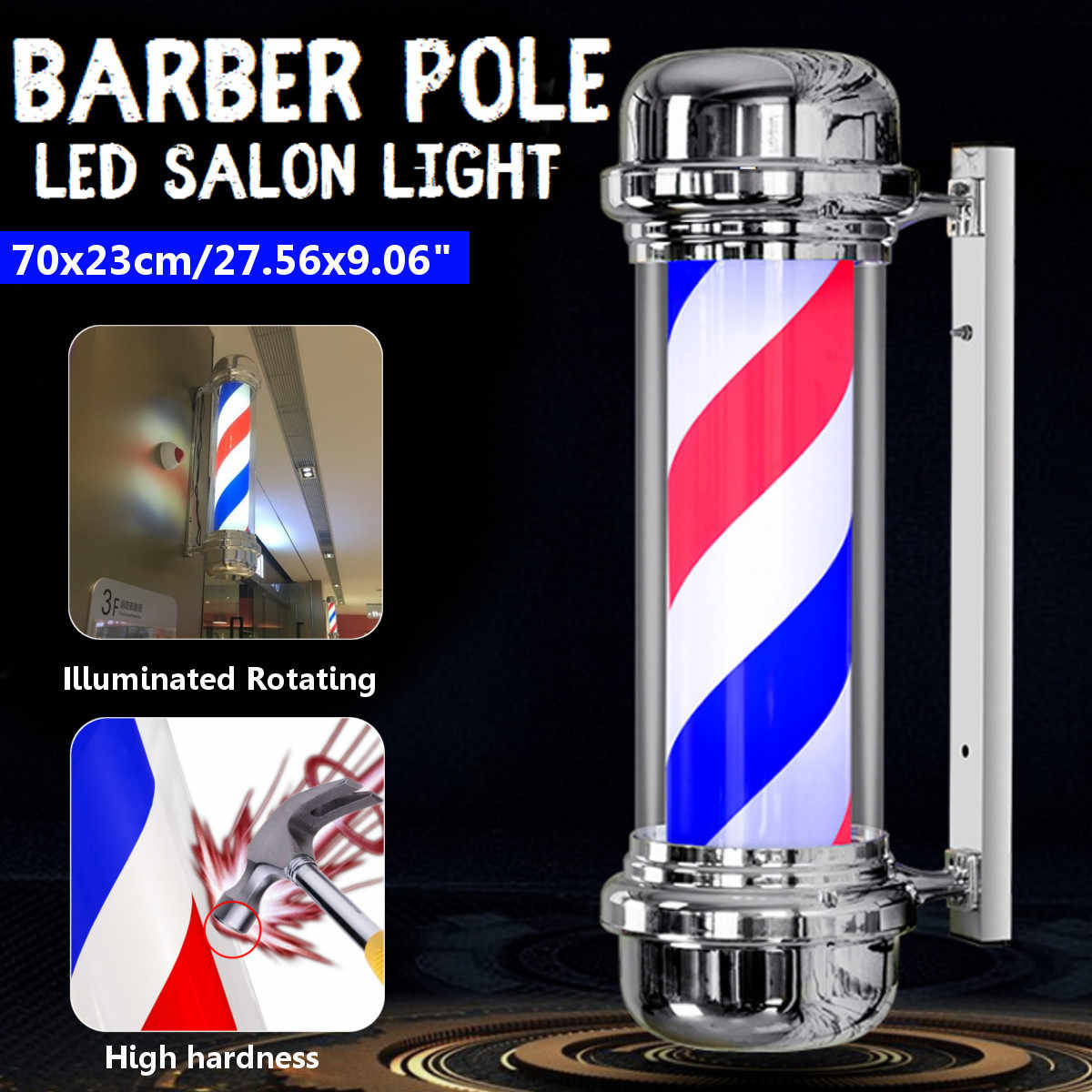 110V/220V LED Barber Shop Sign Pole Light Red White Blue Stripe Design Roating Salon Wall Hanging Light Lamp Beauty Salon Lamp