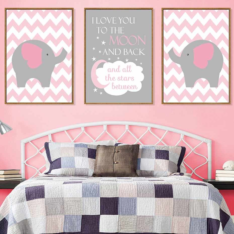 Sure Life Nordic Cartoon Elephant Pink Moon Canvas Paintings Love You To The Moon Poster Wall Art Pictures Girl S Room Decor