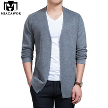 MIACAWOR New Brand Fashion Men Cardigan Autumn Solid Casual