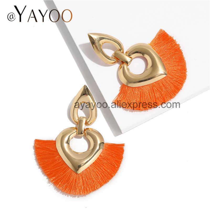 AYAYOO Metal Tassel Earrings Yellow Christmas Earrings For Women Za Geometric Large Bride Long Earings Fashion Jewelry