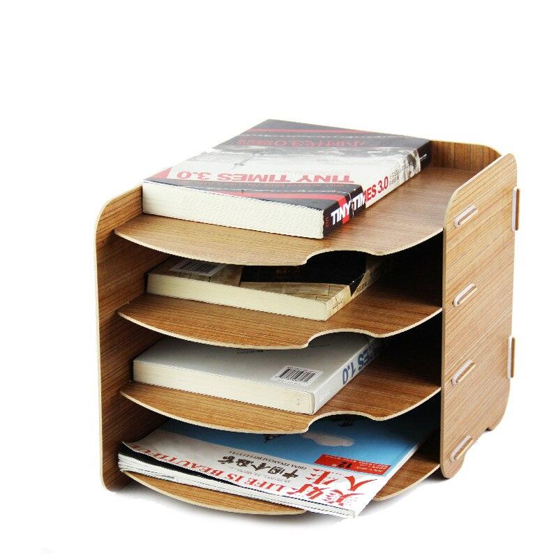 Bois grand bureau rack boîte A4 papier multi-couche propagande données rack livres titulaire