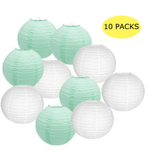 10 Pcs Per Set White And Mint Green Paper Lanterns Chinese Round Lantern Lampion Wedding Boule Papier Party Diy Hanging Decor