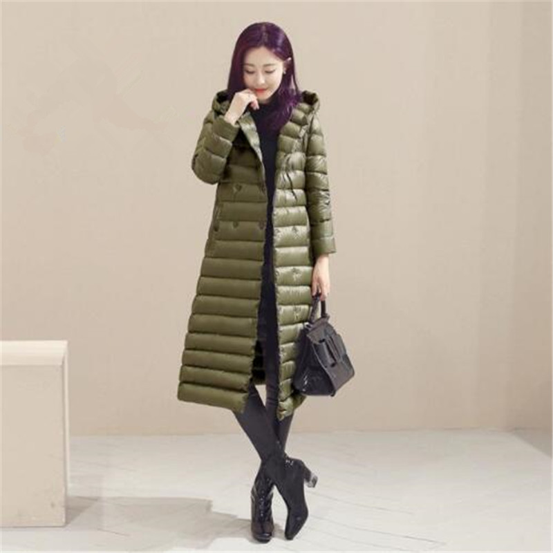 Down   Jackets Women Hooded New Autumn Winter X-Long Plus Size Double Breasted Slim Loose Solid Female   Down     Coats
