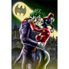 Full Square Drill 5D DIY Diamond Painting Harley Quinn and Joker Kissing Embroidery Cross Stitch Mosaic Home Decor Gift Y2595