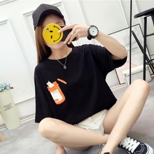 цены Cartoon Cats Print T Shirt Women Fashion Round Neck Summer Short Sleeve Tshirt Korean Style Loose Casual Pullover T-Shirt