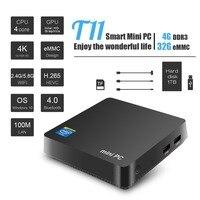 T11 WIN10 лицензированных Мини ПК четырехъядерный процессор Intel Atom Z8350 1,4 ГГц 4 Гб + 32 ГБ Wnidows 10 Поддержка 2,5 дюймов HDD VGA и HDMI, два ядра, Выход 5,8 ГГц