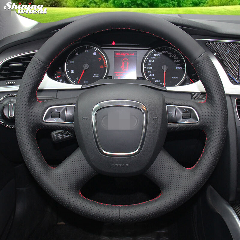 Black Genuine Leather Hand-stitched Car Steering Wheel Cover for Audi Old A4 B7 B8 A6 C6 2004-2011 Q5 2008-2012 Q7 2005-2011