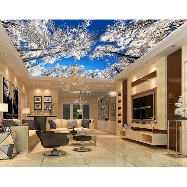 Wonderful Hotel Decoration Materials Digital Printed And UV Printing Blue Sky Design  Roof Ceiling Design