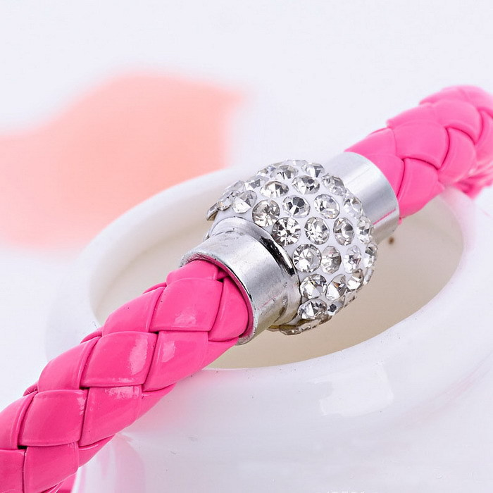 20pcs/lot free ePacketship 2014 Mix 12colors Pu Leather shamballa Bracelet Crystal Ball Braided Fireball Magnetic Clasp bracelet
