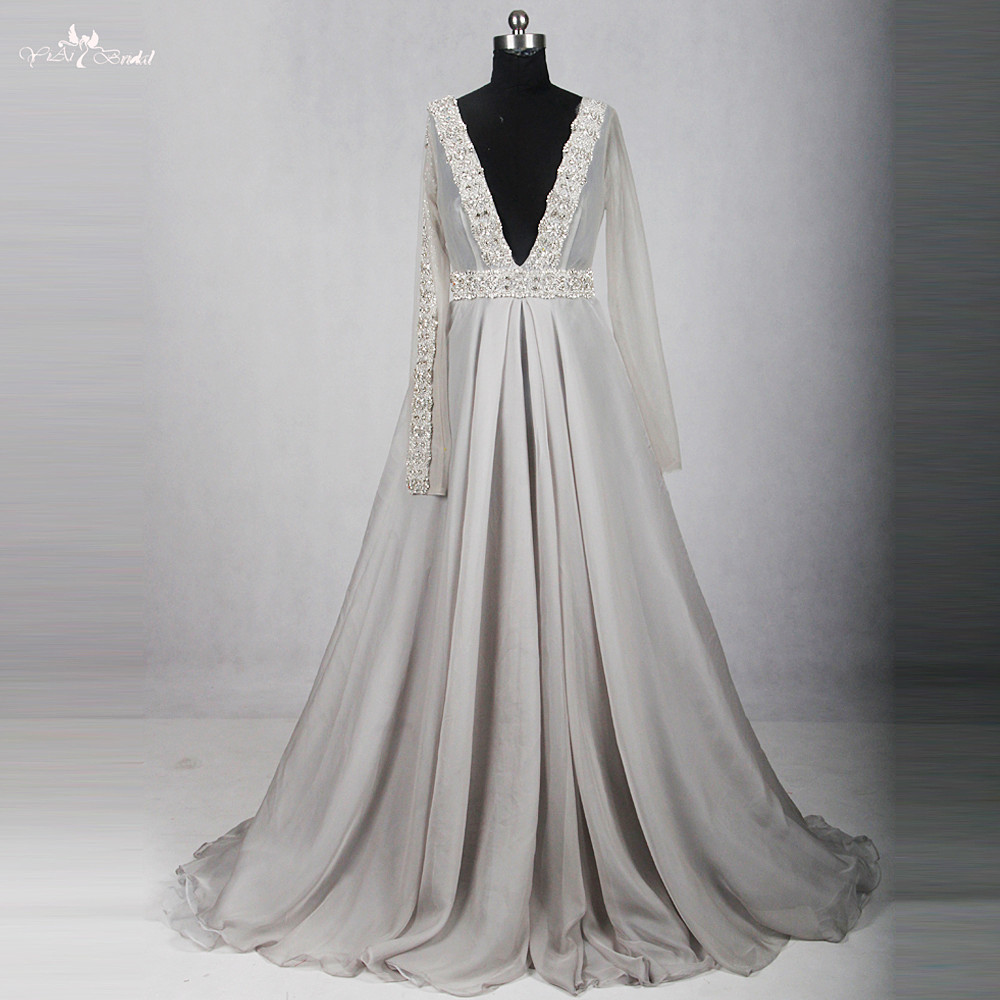 RSE784 Elegant V Neckline A Line Silver Gray Long Chiffon Crystals Dress