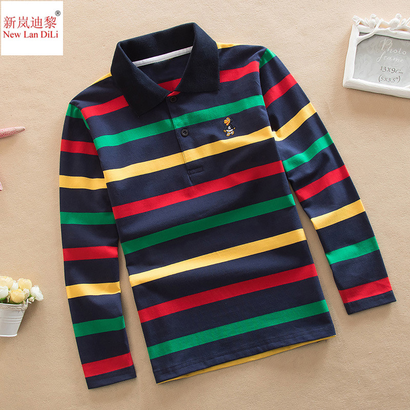 Fast Shipping Top quality kids children boy t shirt kid boys clothing long sleeve cotton striped children's T-shirts plus flounce sleeve striped top
