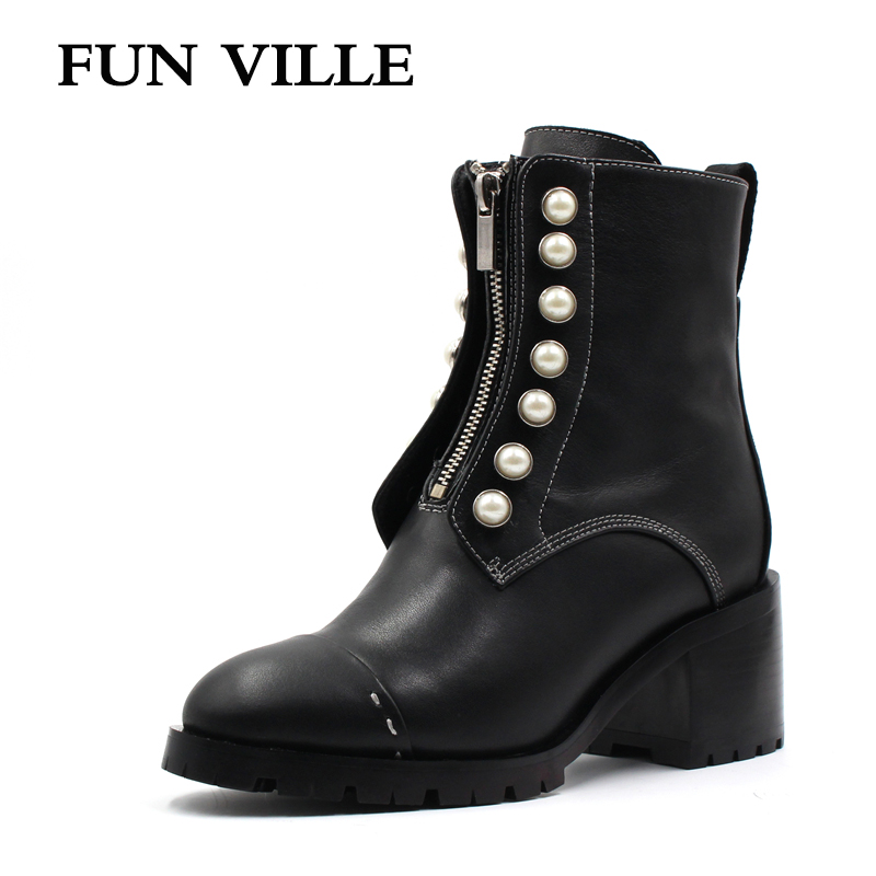 FUN VILLE 2017 New Autumn winter Women Ankle Boots Genuine leather Hign Heel Martin boots black Sexy shoes for woman Round Toe women autumn winter boots 2016 new fashion genuine leather shoes woman ankle boots low heel square toe black shoes riding boots