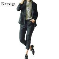 Corée du sud New British Style Vertical Rayures Casual Pantalon Lâche Épaissir bande élégant loisirs femmes office lady costume féminin