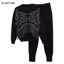 knitting Tracksuit Two piece set 2018 Autumn Winter luxurious Beading tassel Sweatshirts Tops+Pants 2 tracksuit women