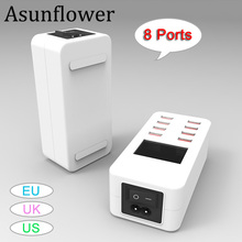 Asunflower USB Hub Charging Dock Station LCD Display For IPhone Tablet Smart USB Wall Travel Charger Hub LED Power Adapter hp usb travel dock t0k30aa