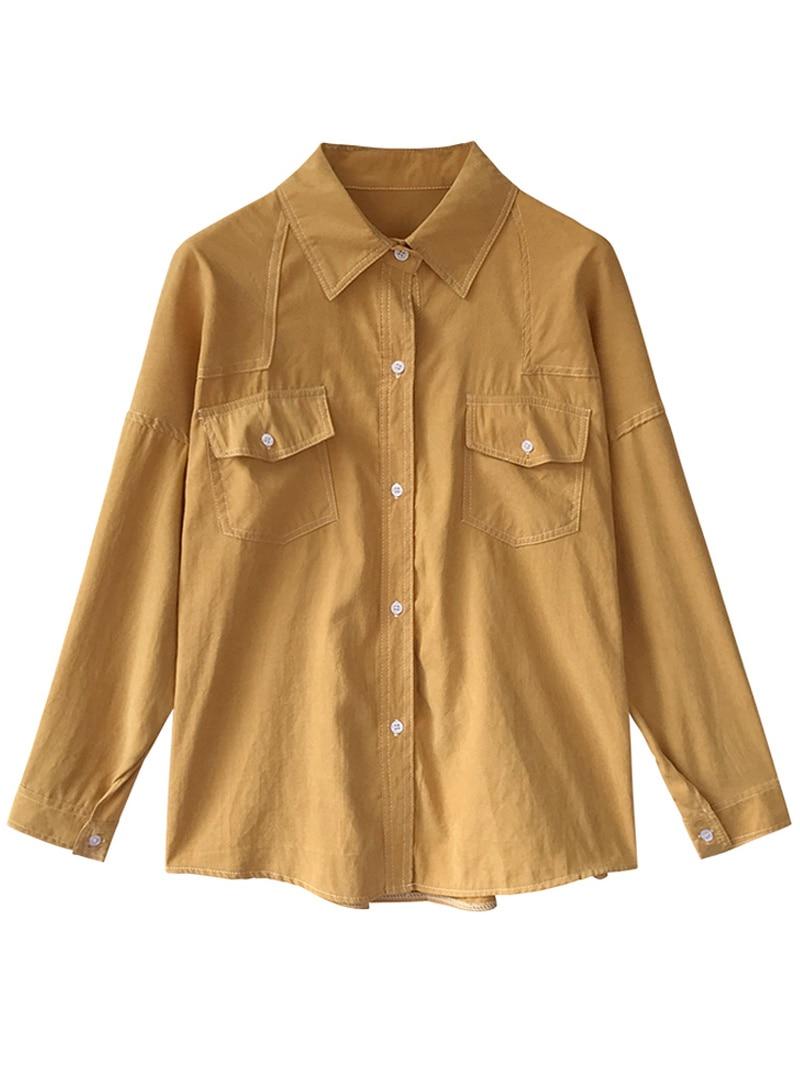 Principios Hong De Primavera 2019 Ropa Nueva La Camisas Chic Primavera Perezoso Viento Manga Sabor Camisa Blusa amarillo Kong Sueltos Fina Larga Mujer Azul 7w70qrdnE