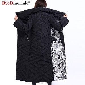 Image 3 - Winter Jacke Frauen X Lange Druck Dünne Dicke Weiße Ente Unten Mantel Elegante Mode Weibliche Warme Mantel BOoDinerinle YR159