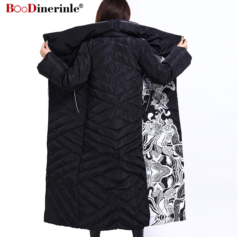 Image 3 - Winter Jacket Women X Long Print Slim Thick White Duck Down Coat Elegant Fashion Female Warm Overcoat BOoDinerinle YR159-in Down Coats from Women's Clothing