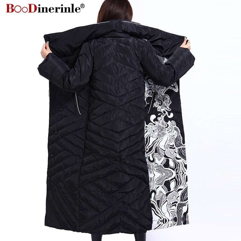 الشتاء سترة المرأة X طويلة طباعة ضئيلة سميكة الأبيض بطة أسفل معطف الأزياء الأنيقة الإناث الدافئة معطف BOoDinerinle YR159-في معاطف قصيرة من ملابس نسائية على  مجموعة 3