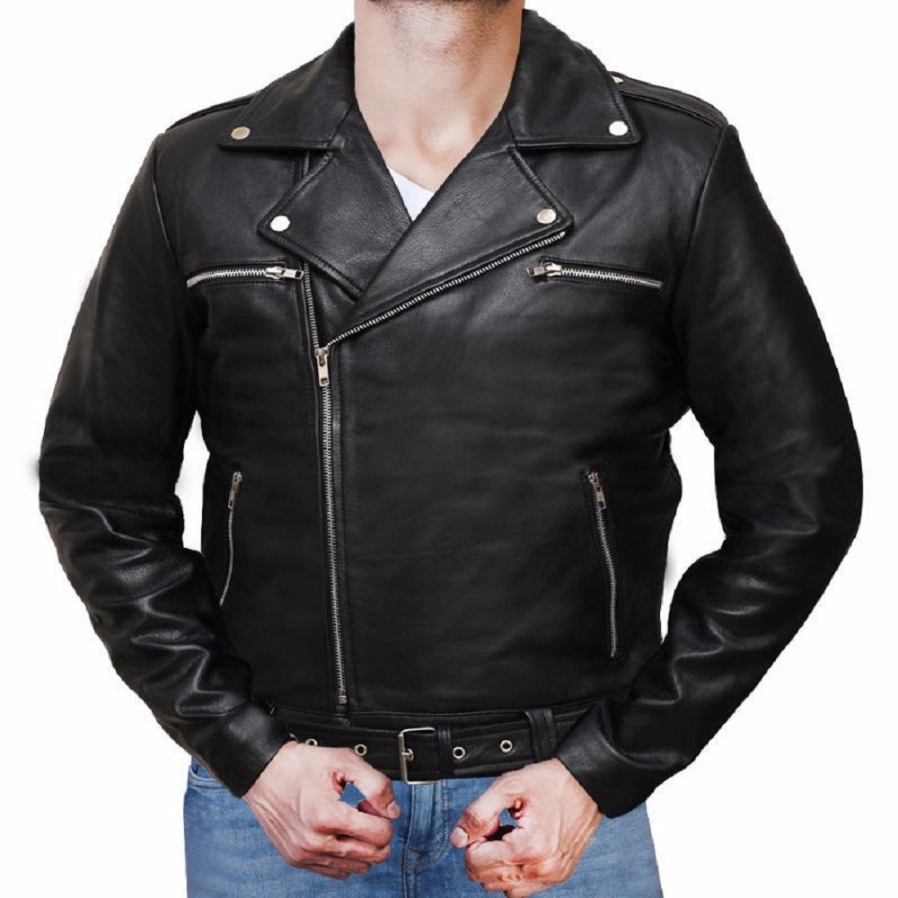 2016 The Walking Dead 7 Nigen Black Leather Jackets Cosplay Man Turn-down Collar Leather Coat Halloween Christmas Gift